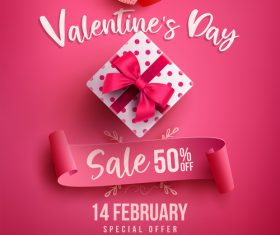 Valentine day sale poster pink vector template