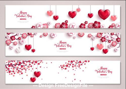 Valentines day banner set greeting card vector