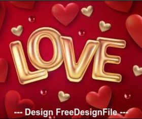 Valentines day golden love font background vector