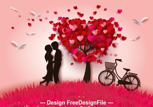 Valentines day heart tree vector