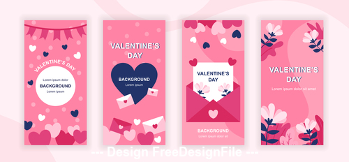 Valentines day instagram stories social template vector
