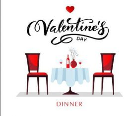 Valentines day restaurant card vector