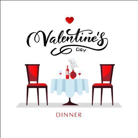 Valentines day restaurant card vector