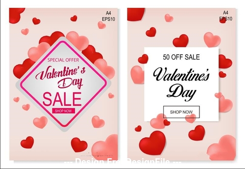 Valentines day sale card banner vector