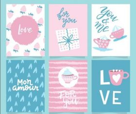 Various Valentines day cards vector