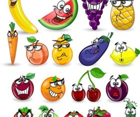 Various emoji fruits cartoon icons vector