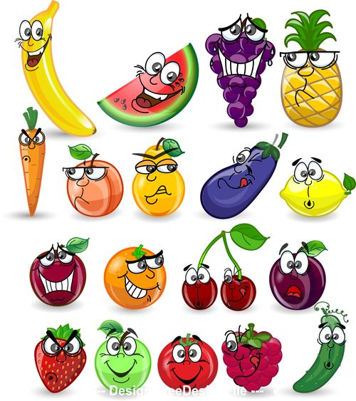 Various emoji fruits cartoon icons vector