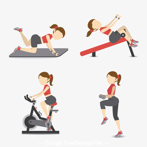 Various fitness exercises vector
