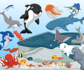 Various sea animals cartoon illustration vector