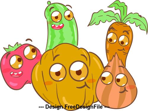 Vegetable cartoon illustration vector
