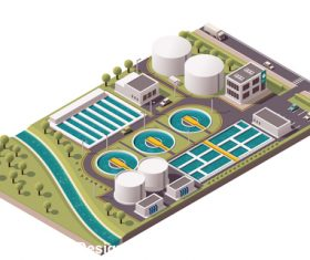 Water purification plant vector
