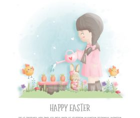 Watercolor easter element vector