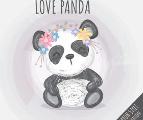 Watercolor happy panda cartoon illustration vector