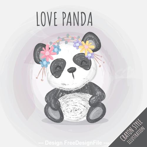 Watercolor happy panda cartoon illustration vector