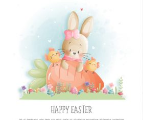 Watercolor rabbit and carrot element vector