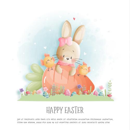 Watercolor rabbit and carrot element vector