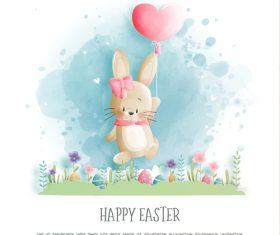 Watercolor rabbit easter illustration vector