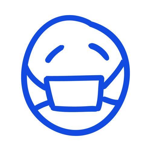 Wearing gauze mask hand drawn emoji vector