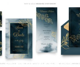 Wedding card template set illustration vector