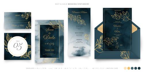 Wedding card template set illustration vector