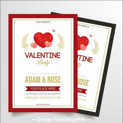 Wedding invitation card two different design elements vector
