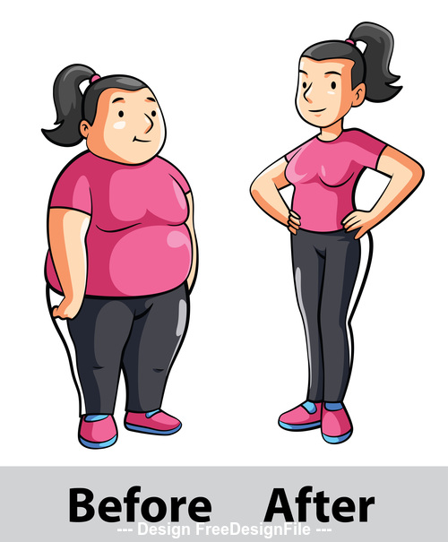 Weight loss before after women cartoon illustration vector