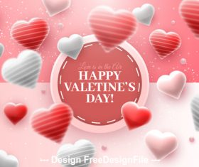 White and red heart background Valentines day greeting card vector