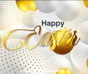 White sphere background easter card vector