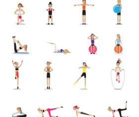 Woman aerobic fitness vector