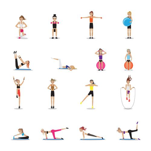 Woman aerobic fitness vector