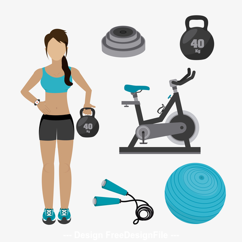 Woman and fitness equipment vector