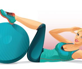 Woman exercising cartoon vector