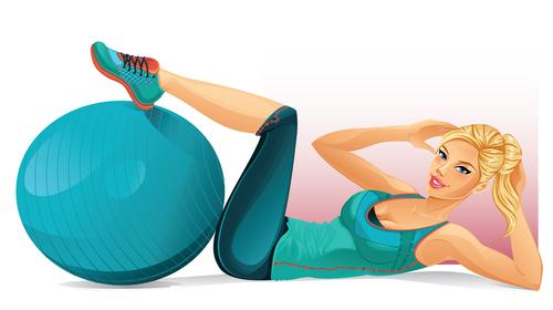 Woman exercising cartoon vector