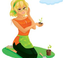 Woman planting flowers and plants cartoon vector