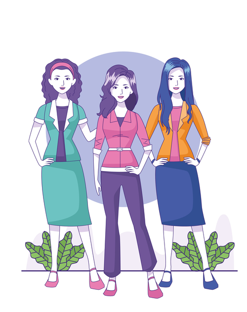 Women in fashion cartoon illustration vector