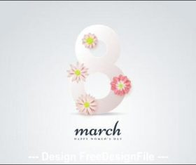 Womens day flower composition greeting card vector