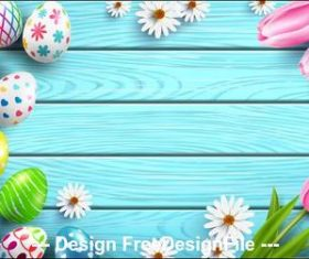 Wooden desktop easter eggs and flowers illustration vector