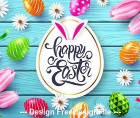 Wooden desktop easter illustration vector