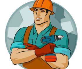 Worker cartoon illustration vector