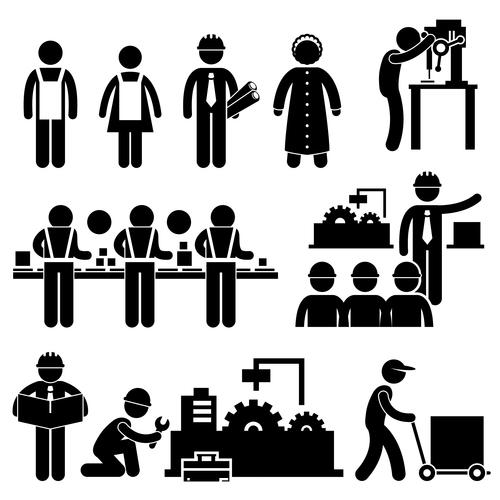 Workers matchstick men vector