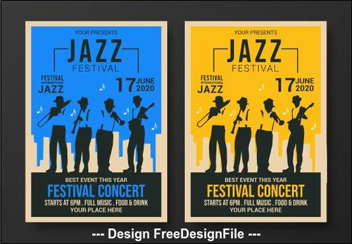 Yellow and blue background flyer jazz festival vector