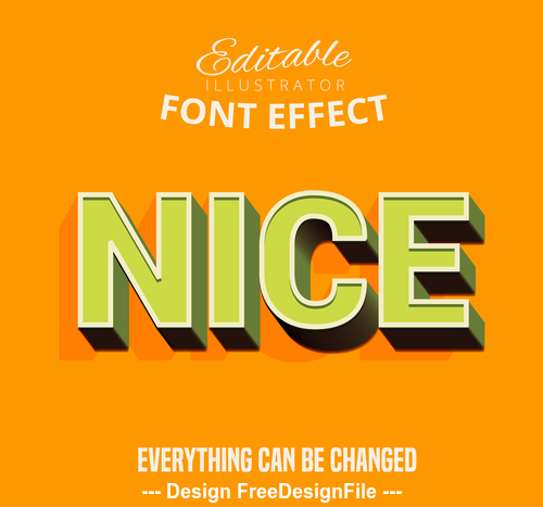 Yellow background 3d font effect editable text vector