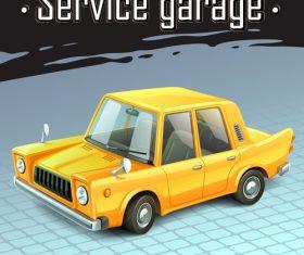 Yellow funny car vector