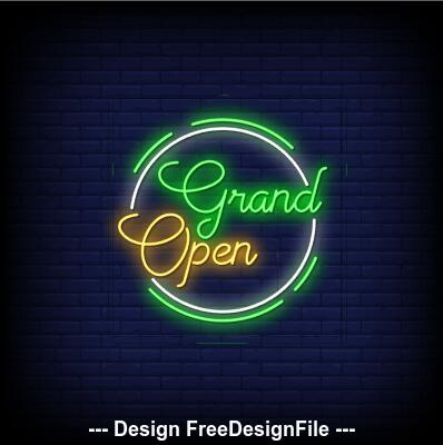 Yellow green neon signs style text vector