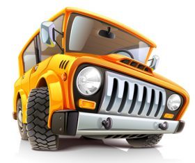 Yellow off-road vehicle cartoon vector