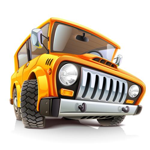 Yellow off road vehicle cartoon vector