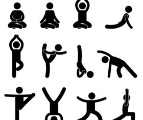 Yoga matchstick men vector