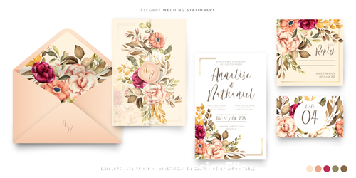 floral background wedding invitations template vector