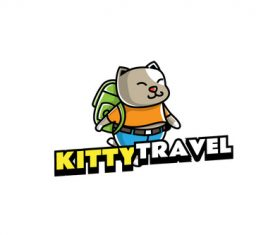 kitty travel mascot logo vector