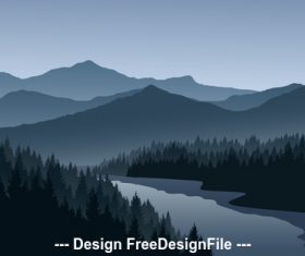 landscape cartoon illustration vector